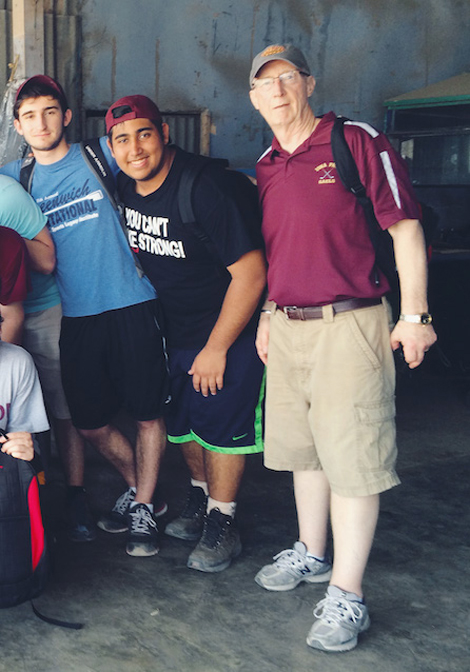 Brother Stephen Casey with an immersion group from Iona Preparatory School from New Rochelle, NY.