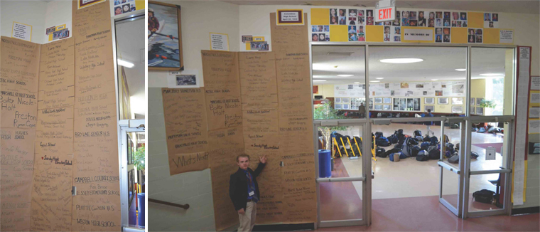 (Above) Iona Prep Human Rights Club member Ryan Murphy ('18) poses with the mural he and other club members helped create. (Left) The mural contains the names and photos of the hundreds of victims of school shootings that have occured in the United States in recent years.