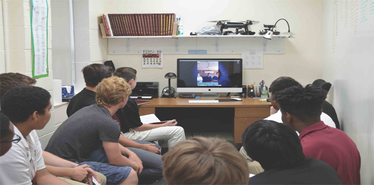 Iona Prep Human Rights Club members at the May 2018 video conference with students from Colegio Cardenal Newman in Buenos Aires, Argentina.
