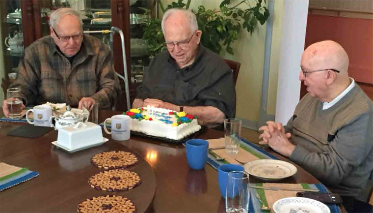 (l to r) Father Bill Brown, SJ, Br. Bert Darcy, Br. Raph Bellows