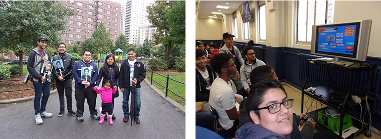 LEFT: Joshua's parents and several of his colleagues from the class of 2017. | RIGHT: All Hallows students participating in the gaming tournament.