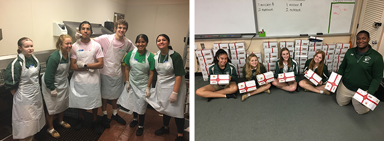 "LEFT: Students serving the poor at Metro Ministries | RIGHT: Students created ""boxes of joy"" for students in poor Haitian parishes."