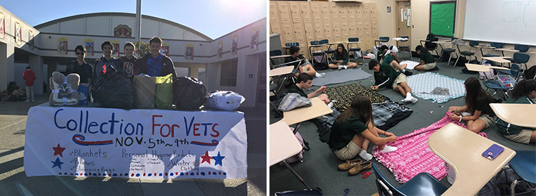 LEFT: Students with the collected items | RIGHT: Students make blankets to distribute to the homeless in Tampa