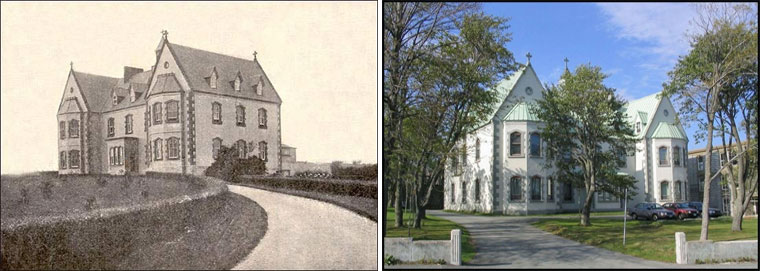 LEFT: Mount  St.  Francis  St.  John's,  NLResidence  of  the  Christian  Brothers.From  Benevolent  Irish  Society  (St.  John's,  NL),  Centenary  volume,  Benevolent  Irish  Societyof  St.  John's,  NL,  1806-1906(Cork,  Ireland:  Guy  &  Co.,  1906)p66. RIGHT: Mount  St.  Francis  St.  John's,  NLResidence  of  the  Christian  Brothers.As  it  is  today,  2018.