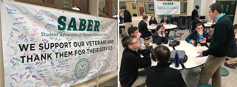 SABER members collect signatures for veterans.