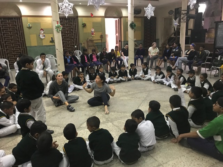 Iona College students speak with students at a Christian Brother school in Kolkata.
