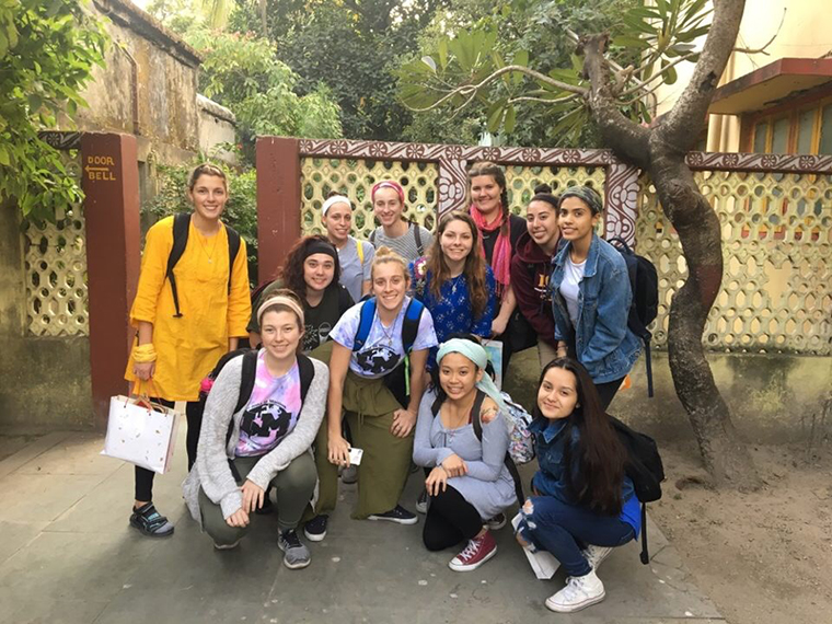 Students in Kolkata pose with an Iona College visitor; the Iona College India immersion team.