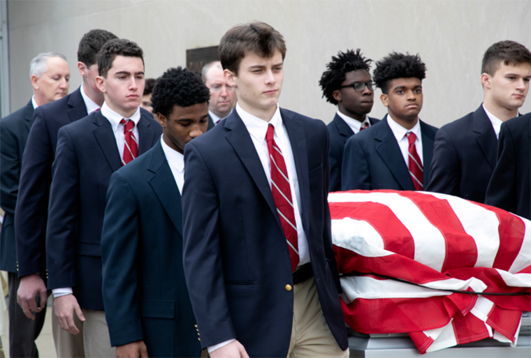 Student at Catholic Memorial School in West Roxbury, Mass., serve at the funeral service for U.S. Army Veteran Timothy Fowl in January 2019 (Photo provided by author)