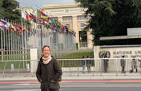 Palma School's Mia Mirassou stands outside the UN headquarters in Geneva.
