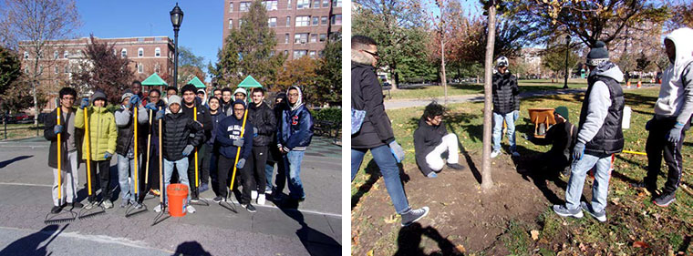 Students from All Hallows spent a November day learning from Bronx is Blooming, a local non-profit that helps to improve Bronx Parks. All Hallows students learned how to advocate for local parks and participated in service activities at two local area parks.
