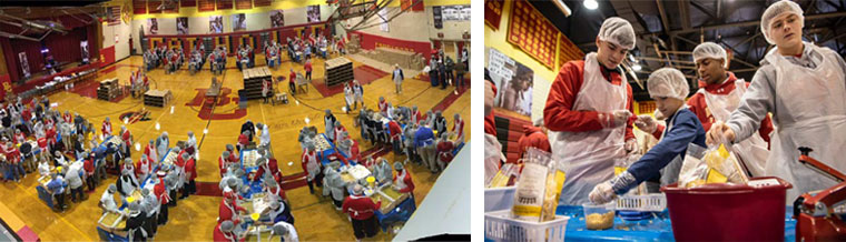 LEFT: Bergen Catholic's gym is packed with volunteer preparing food. | RIGHT: Bergen Catholic students package meals (photo credit NorthJersey.com)