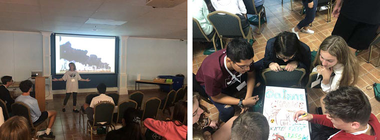 LEFT: Iona Prep's Christine Chana leads a session on climate change. | RIGHT: Students on the ACTION retreat create climate change action posters.