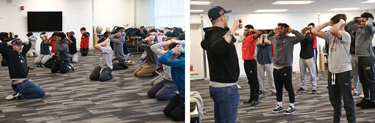 Students from Catholic Memorial practice yoga,