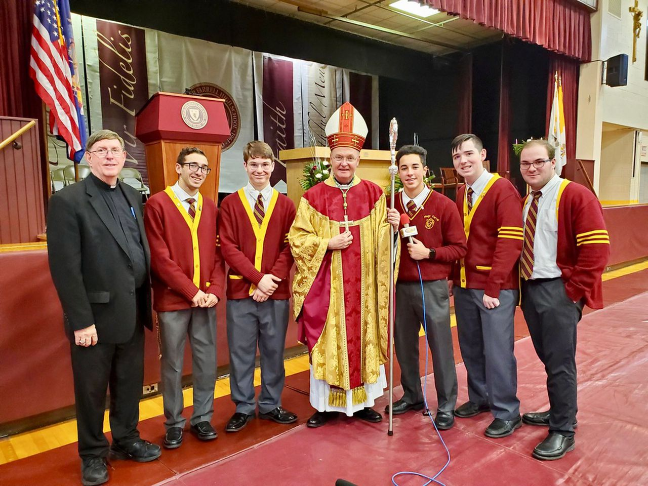 From the left are Brother Paul Hannon, Nicholas Imperato, Andrew Scibelli, Bishop Edmund Whalen, Michael LaMorte, Ryan Taylor and Nicholas Diaz. (Courtesy/Brother Paul Hannon)Staten Island Advance