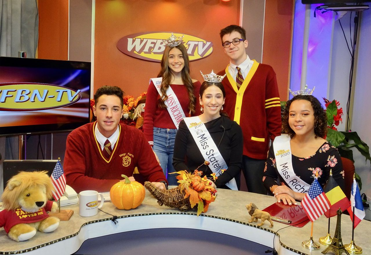 At Monsignor Farrell's WFBN-TV station are, from the left, sitting, Michael LaMorte, Madison L'Insalata, Miss Staten Island, and Gabby Ryan, Miss Richmond County. Standiing is Victoria Montuori, Miss Richmond County Outstanding Teen and Andrew Norberg.(Courtesy/Brother Paul Hannon)Staten Island Advance