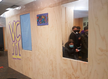For the virtual Peru immersion, Vancouver College students created a Peru Pavilion, which included this full scale replica of a house that would be built on the trip in Jicamarca, Peru.